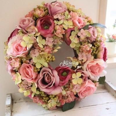 リース ニュアンスカラー紫陽花 ローズ アンティーク ピンク 玄関 メッセージ承ります