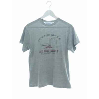 【中古】ヘインズ Hanes 80's Tシャツ ポリコットン USA製 SEABROCK STATION グレー M メンズ