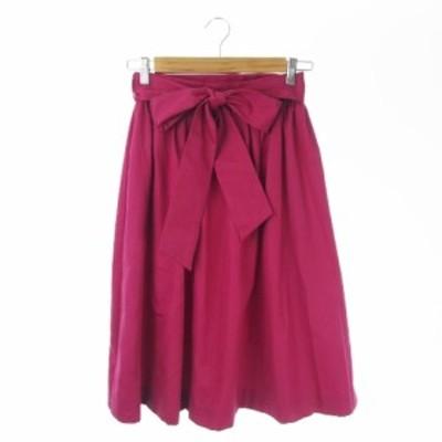 【中古】ティアラ Tiara スカート ギャザー フレア ロング ミモレ リボン 2 ピンク /AO15 ★ レディース