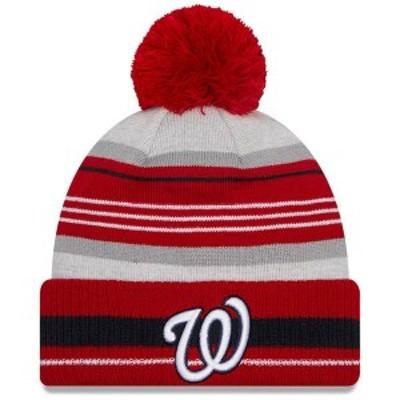 ニューエラ メンズ 帽子 アクセサリー Washington Nationals New Era Cuffed Knit Hat with Pom Gray/Red