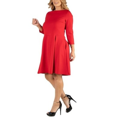 24セブンコンフォート ワンピース トップス レディース Knee Length Fit N Flare Plus Size Dress with Pockets Red