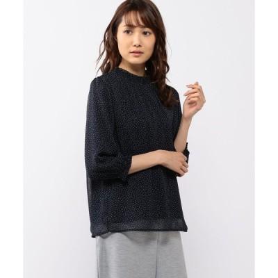 【エーシーデザインバイアルファキュービック】ギャザーネックTブラウス