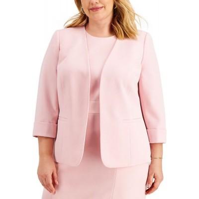 カスパール Kasper レディース スーツ・ジャケット 大きいサイズ アウター Plus Size Cuffed Open-Front Blazer Tutu Pink
