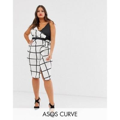 エイソス レディース ワンピース トップス ASOS DESIGN Curve mono grid check waterfall pencil dress