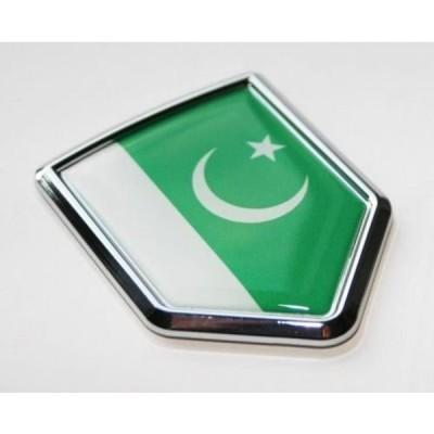 全国配送料無料!パキスタン パキスタンの国旗デカール車のクロム紋章ステッカー 海外正規流通品 並行輸入品