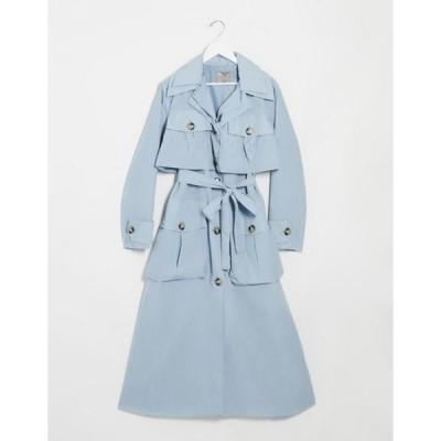 エイソス レディース コート アウター ASOS DESIGN layered utility taffeta trench coat in baby blue