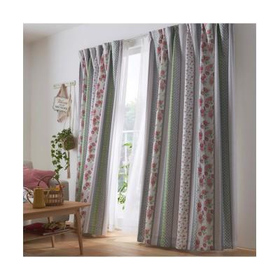 パッチワーク風フラワー柄遮熱・1級遮光裏地付きカーテン ドレープカーテン(遮光あり・なし) Curtains, blackout curtains, thermal curtains, Drape(ニッセン、nissen)