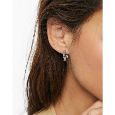 ホイッスルズ レディース ピアス&イヤリング アクセサリー Whistles textured hoop earrings in silver Silver