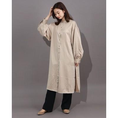 ジーラ GeeRA 【WEB限定】バンドカラーサテンロングシャツ (ベージュ)【Mサイズ】