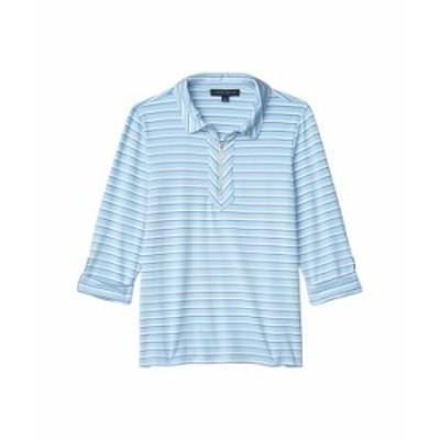 トミー ヒルフィガー レディース シャツ トップス 1/2 Zip Stripe Shirt French Blue Multi