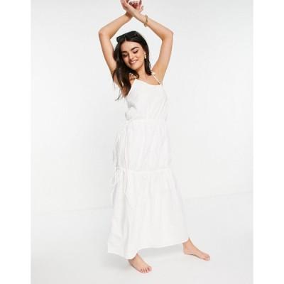 ズールーアンドゼファー ミディドレス レディース Zulu & Zephyr tiered maxi beach dress in white エイソス ASOS ホワイト 白