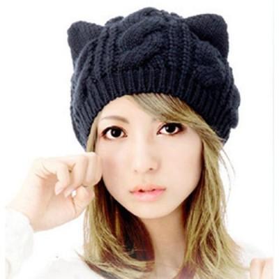 ニットキャップ レディース 猫耳 かわいい ワークキャップ あったか 防寒 ケーブル編み 帽子 リブ編み 無地 折り返し送料無料 代引不可