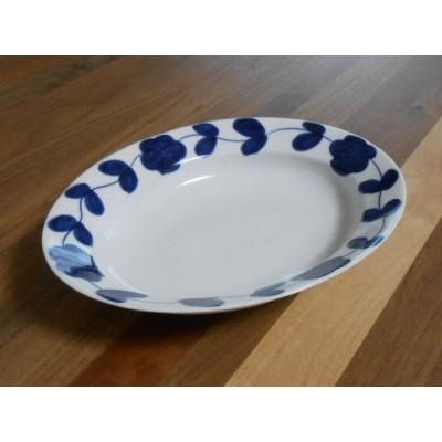 有田焼 染付花つなぎ リム楕円皿(大)(カレー皿)
