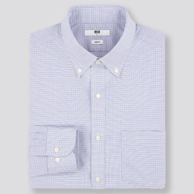 ファインクロスストレッチスリムフィットチェックシャツ(ボタンダウンカラー・長袖)