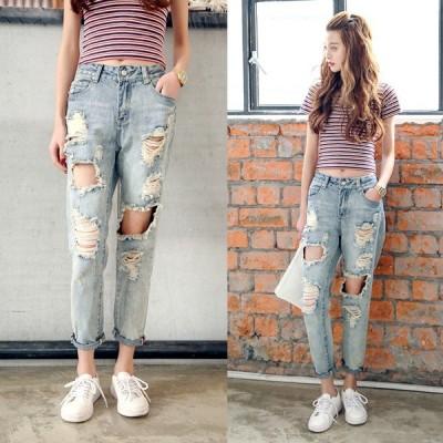 デニム パンツ ズボン ダメージジーンズ レディース ジーパン 九分丈 大きいサイズ ロングパンツ おしゃれ
