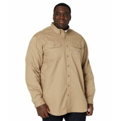 カーハート メンズ シャツ トップス Big & Tall Flame-Resistant Classic Twill Shirt Khaki