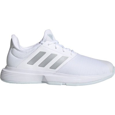 アディダス スニーカー シューズ レディース adidas Women's GameCourt Tennis Shoes White/Silver/Blue