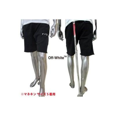 オフホワイト OFF-WHITE メンズ パンツ ボトムス ハーフパンツ ロゴ 裾カットオフデザイン・OFF-WHITEロゴ刺繍付きハーフスウェットパンツ (R51700) GB121