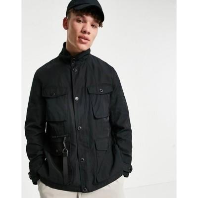 カール ラガーフェルド メンズ ジャケット・ブルゾン アウター Karl Lagerfeld four pocket lightweight jacket in black