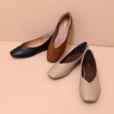 【送料無料】靴 レディース パンプス Vカット シンプル ローヒール スクエアトゥ 履きやすい ブラック ベージュ ボルドー グレー 黒