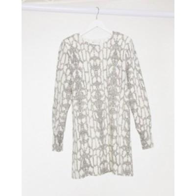 エイソス レディース ワンピース トップス ASOS DESIGN long sleeve super soft mini dress in snake print Snake print