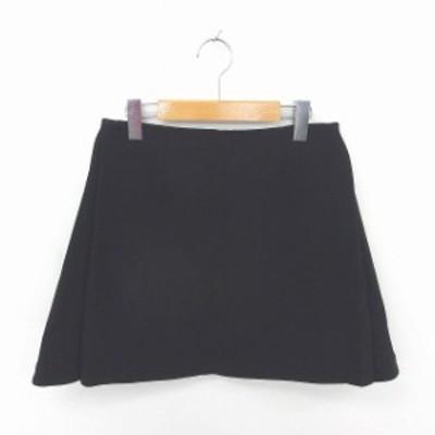 【中古】ミューズ MUSE スカート 台形 ミニ バックジップ 無地 シンプル 36 黒 ブラック /TT25 レディース