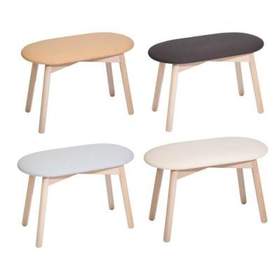スツール木製楕円形キュートなツインスツールチェアコットン座張り doublestool-na-cotton