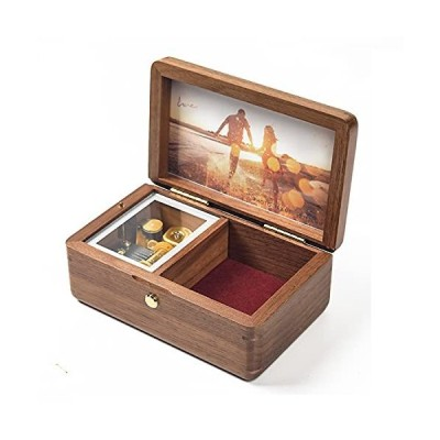 HEFENG Wooden Music Box with Customizable Music,Lettering,Patterns and Photos, Jewelry Storage Music Box for Friends, Lovers,Kids as Valenti