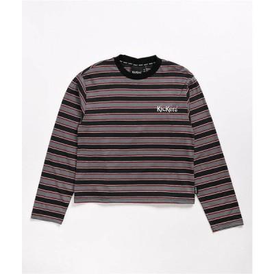 キッカーズ KICKERS CLASSICS レディース 長袖Tシャツ トップス Kickers Grey & Red Striped Long Sleeve T-Shirt Grey