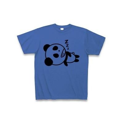 笑いながら寝るパンダ Tシャツ(ミディアムブルー)