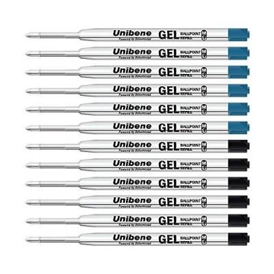 Unibene Parker 互換ゲルインクボールペンリフィル 12パック 0.7mm 中細 黒6本 青6本 滑らかな書き心地 交換可