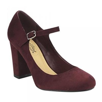 シティークラッシフィード レディース パンプス Cityclassified Comfort FE66 Women's Mary Jane High Chunky Block Heel Pumps