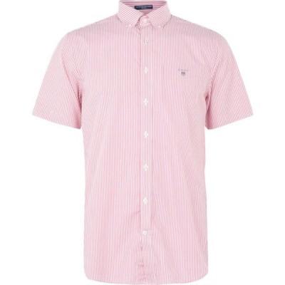 ガント Gant メンズ 半袖シャツ トップス Short Sleeve Broadcloth Banker Shirt Dark Pink