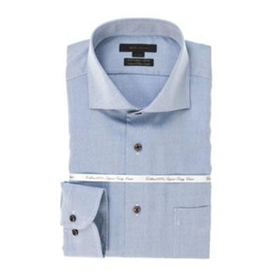 綿100% 形態安定 レギュラーフィットカッタウェイ長袖SHUTOビジネスドレスシャツ/ワイシャツ