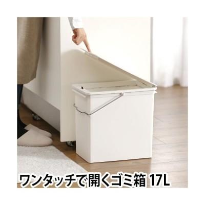 ゴミ箱 プッシュオープントラッシュビン 17L おしゃれ ワンプッシュ フタ付き キッチン ホワイト