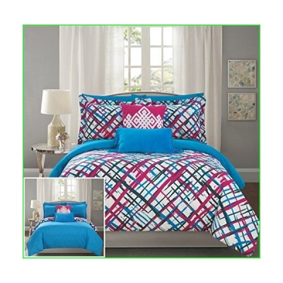 Chic Home Abstract 9 Piece Reversible Comforter Print Design Bed in a Bag-Sheet Set Decorative Pillows Shams Included SizeFuchsia, Full, Fus