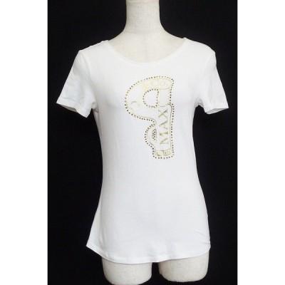 MAX&Co. マックス&コー  ゴールドビーズ Tシャツ  M ホワイト/ゴールド 中古