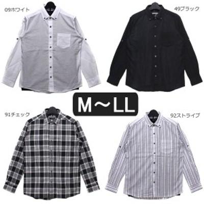 長袖シャツ 半袖Tシャツ 2点セット アンサンブル M L LL 09ホワイト 49ブラック 92ストライプ 91チェック 7130-7062 STEELO