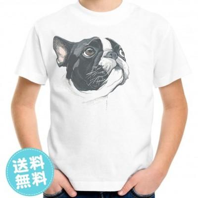 親子ペアルックもできるデザインプリントTシャツ ボストン・テリア柄 キッズ服 子供服 メンズ服 レディース服 送料無料