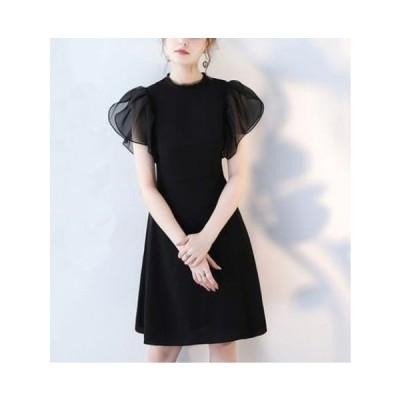 ドレス ワンピース 黒 結婚式 ドレス お呼ばれ ワンピース 30代 韓国 パーティードレス ワンピース ミニ 半袖 フレア jm4148