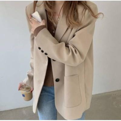 2色 テーラードジャケット アウター 長袖 ゆったり 無地 カジュアル 大人可愛い シンプル 韓国 オルチャン ファッション
