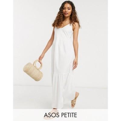 エイソス ミディドレス レディース ASOS DESIGN Petite Exclusive strappy tiered maxi dress in white エイソス ASOS ホワイト 白