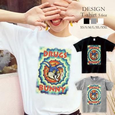 Tシャツ レディース 半袖 トップス ブランド ユニセックス メンズ プリントTシャツ ART drag バニー アート かっこいい