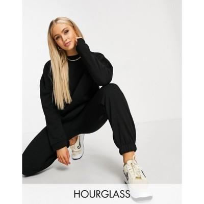 エイソス レディース パーカー・スウェット アウター ASOS DESIGN Hourglass tracksuit oversized sweatshirt/oversized sweatpants in black