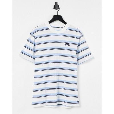ナイキ メンズ Tシャツ トップス Nike SB stripe t-shirt in off white/navy Off white/navy