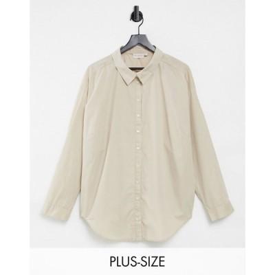 オンリーカーブ Only Curve レディース ブラウス・シャツ トップス Oversized Shirt In Beige ベージュ