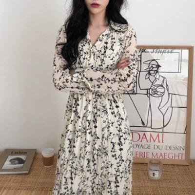 オルチャン 韓国 ファッション ワンピース ワンピ レディース 花柄 ロング Vネック ワッシャー シワ加工 長袖 ゆったり レトロ 大人可愛