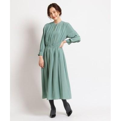 SunaUna/スーナウーナ 【洗える】ボタンギャザーワンピース グリーン(022) 36(S)