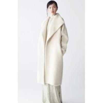 オリジナルのヨーロッパとアメリカンスタイルの繭形のモヘアウールコート厚い白いベルベットプラスサイズの長いウールコート