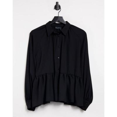 エイソス レディース シャツ トップス ASOS DESIGN long sleeve sheer shirt with peplum Black
